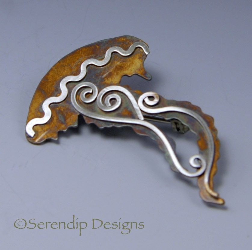 Silver Patina Jellyfish Brooch.