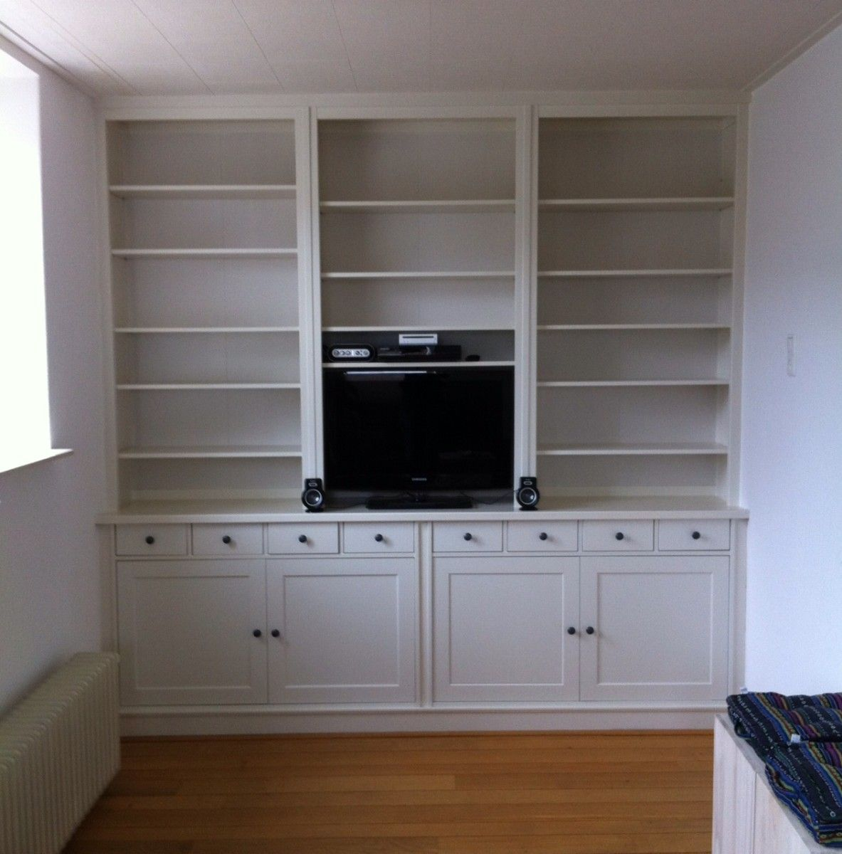 the hemnes bookcases are shortened at the bottom and placed on top