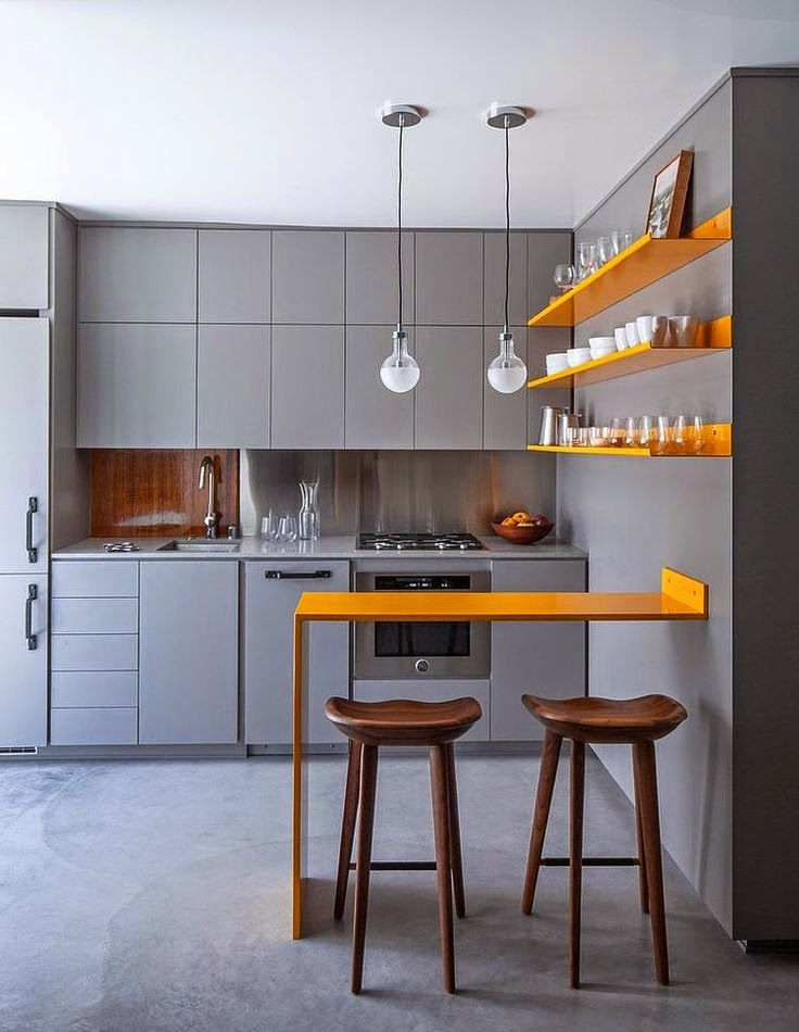 Minimalist Orange Wall Shelves And Dining Table For Makeover Ideas In Modern Kitchen With Grey