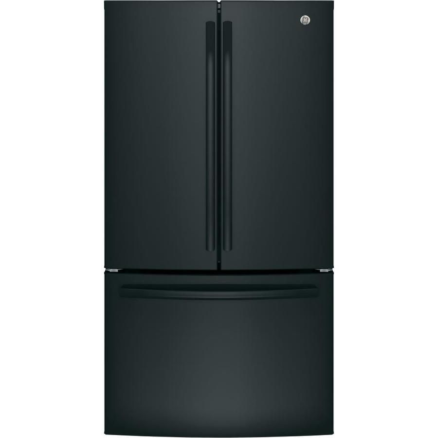 Model Gne27jgmbbge 27 Cu Ft French Door Refrigerator With Ice Maker Black Energy Star French Door Refrigerator French Doors Black Refrigerator