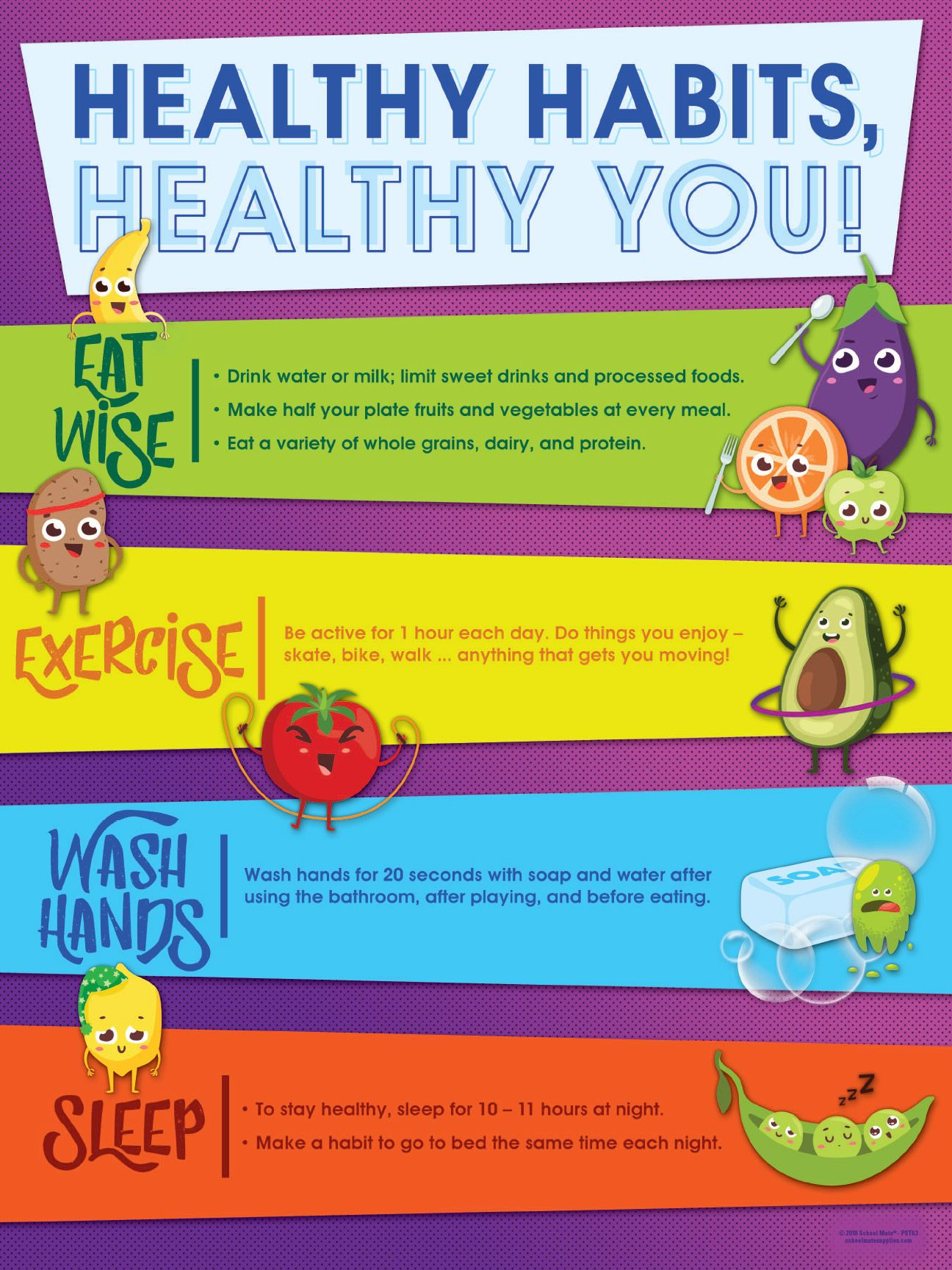 Foster Healthy Habits For Your Students With Eating Exercising Hand Washing And Sleeping Tips With This Color Healthy Habits For Kids Healthy Habits Healthy