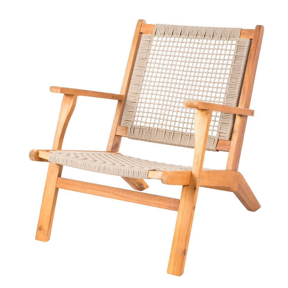 Patio Sense Vega Natural Stain Solid Wood Woven Seat Outdoor