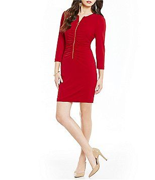 Jessica Simpson Zip Front Ruched Dress