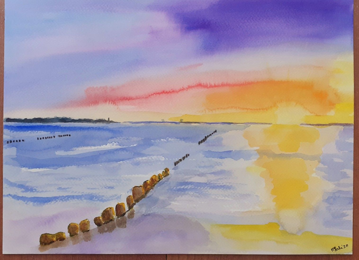 Sunrise Or Sunset Watercolour By Magdalena Sonta In 2020