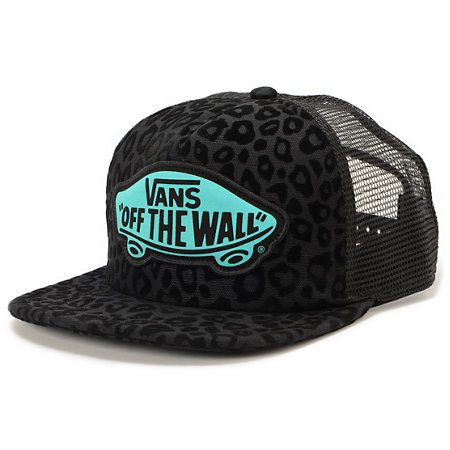 Vans Beach Girl Black Leopard Trucker Hat  28489fb7657