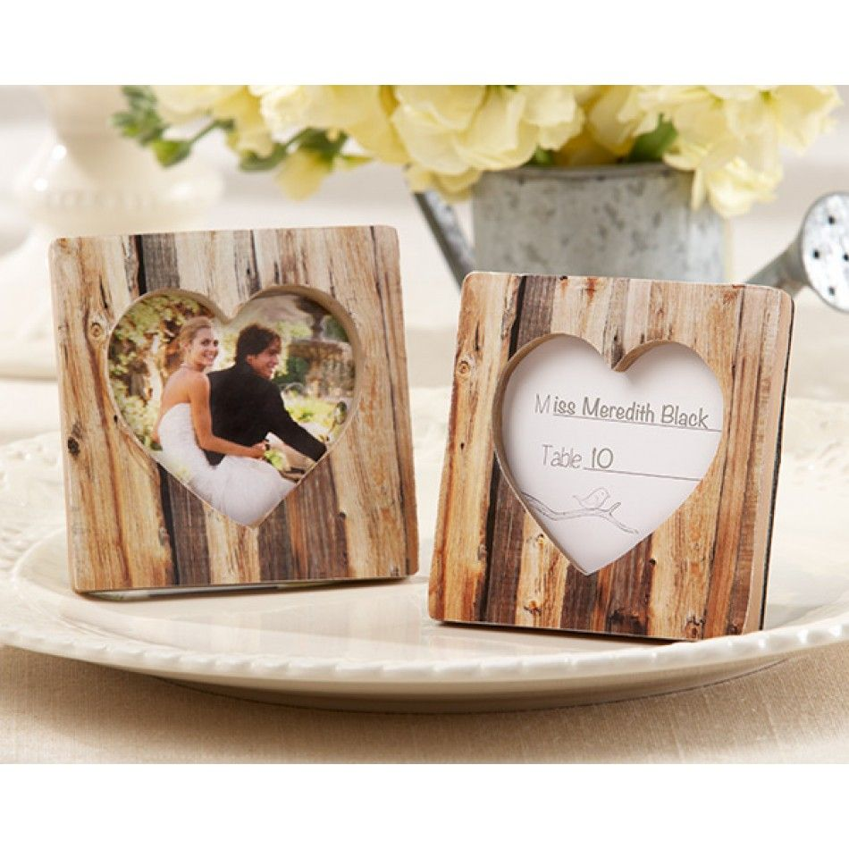 Rustic Heart Faux Wood Place Card Holderphoto Frame 528 25111na