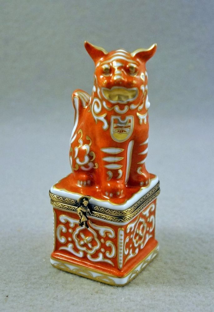 New French Limoges Box Chinese Foo Dog Guardian Lion Symbol Of Good
