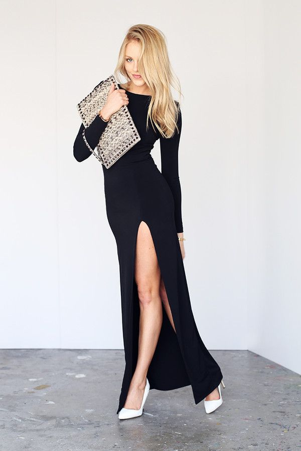 Simple Long Black Dress With High Slit Ave Styles Personal Faves