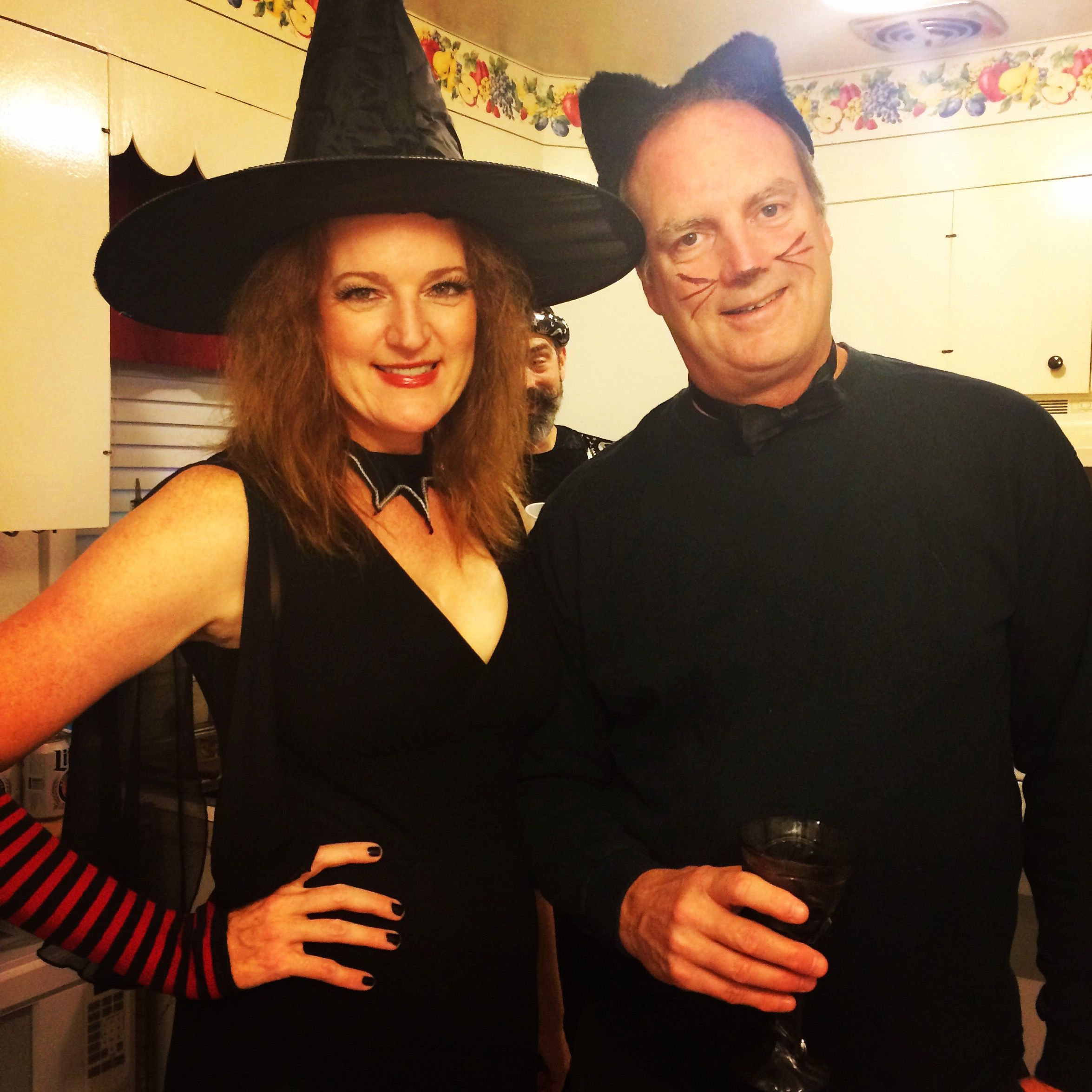 Diy Witch And Black Cat Couples Costume Couples Costumes Couple Halloween Couple Halloween Costumes