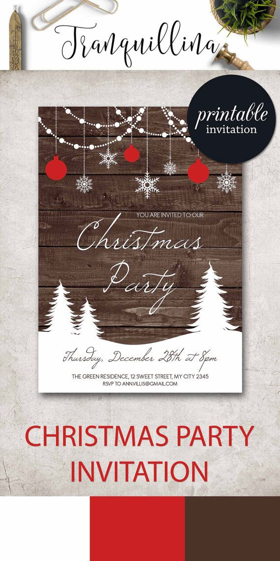 Christmas Invitation Christmas Party Invitation, Rustic Winter ...