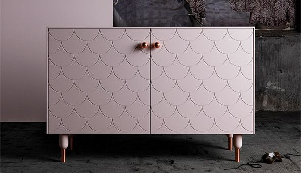 Superfrontin ovi Big Fish -kuviolla Ikean Bestå-kaapissa