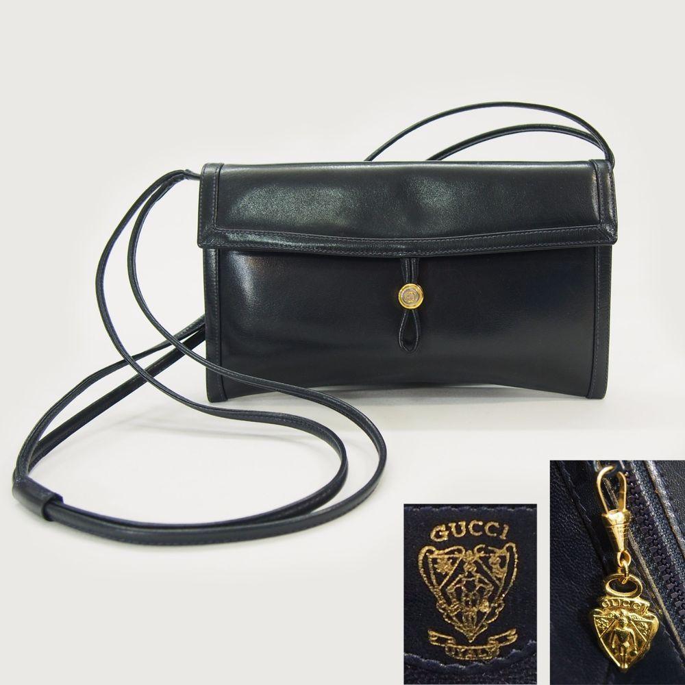 Chanel handbag superb vintage chanel bag vintage leather - Vintage Gucci Navy Blue Glossy Leather Cross Body Shoulder Bag Or Clutch Purse