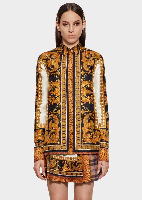 d47a2ff91f3729 Versace Signature Wild Print Silk Shirt - Print Blouses   Tops