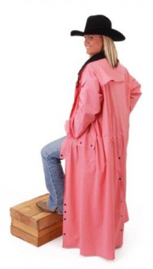 Women S Pink Western Saddle Raincoat Slicker Cowgirl Coat