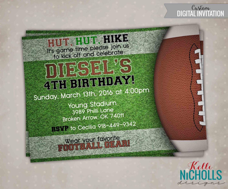 Football Birthday Invitation, Football Birthday Invite, Custom ...