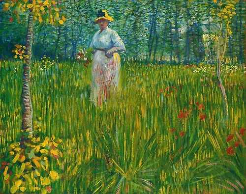 A Woman Walking In The Garden Vincent Vangogh Arte Van Gogh Pintores E Historia Da Arte