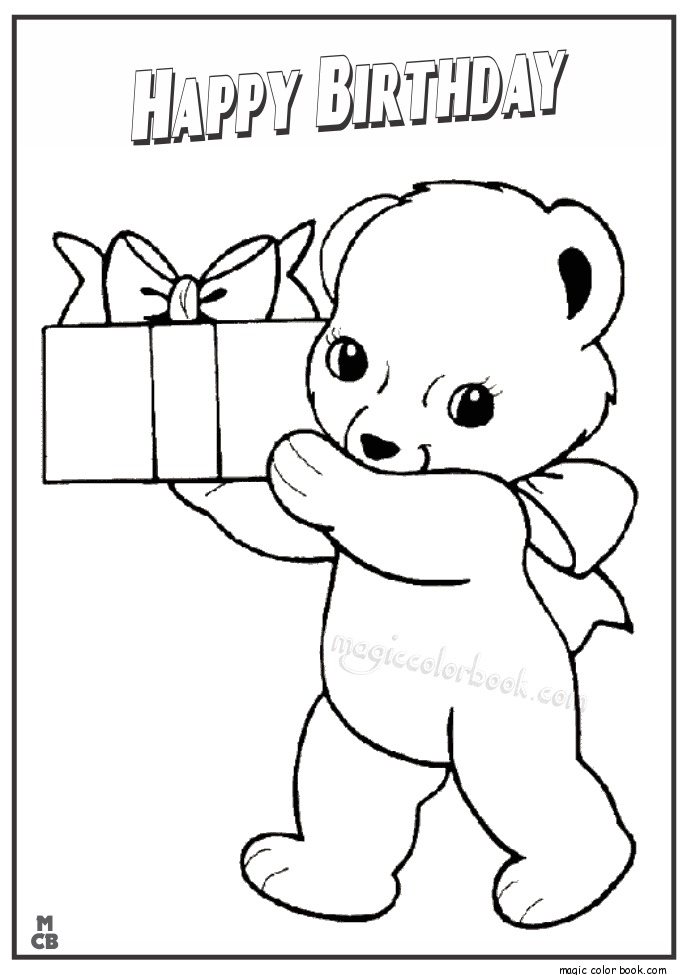 Happy Birthday Coloring Pages Bear 02