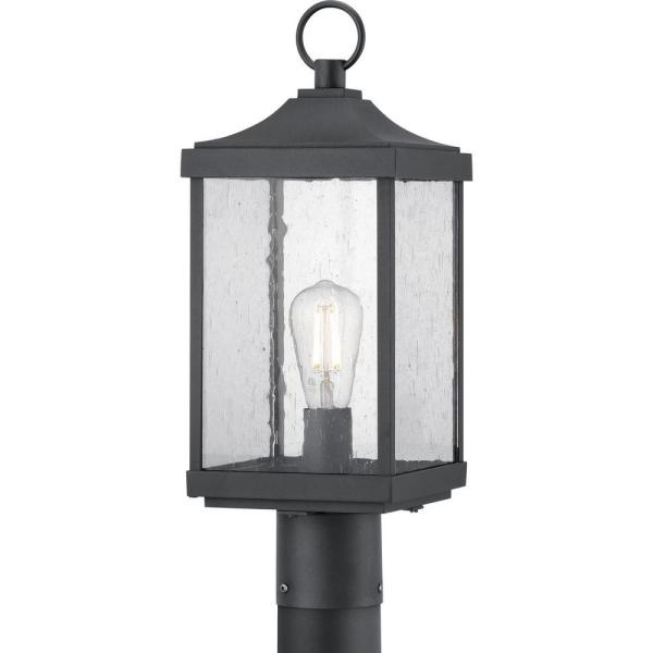 Progress Lighting Park Court 1 Light Textured Black Outdoor Post Lantern With Clear Seeded Glass P540041 031 The Home Depot In 2021 Progress Lighting Seeded Glass Outdoor Post Lights