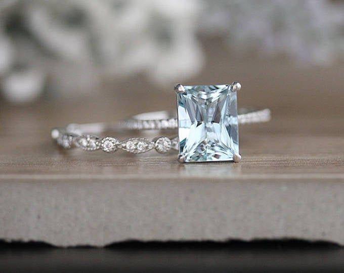 Aquamarine Emerald Cut 10x8mm Engagement Ring, Rose Gold Aquamarine and Diamond Ring, Bridal ring, 14k Rose Gold Diamond Ring, Promise Ring #aquamarineengagementring