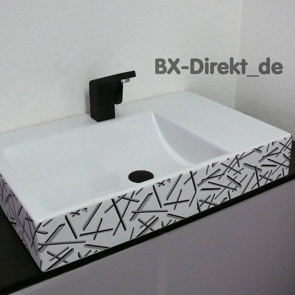 Moderner Waschtisch details zu moderner waschtisch mit grau schwarz dekor das designer