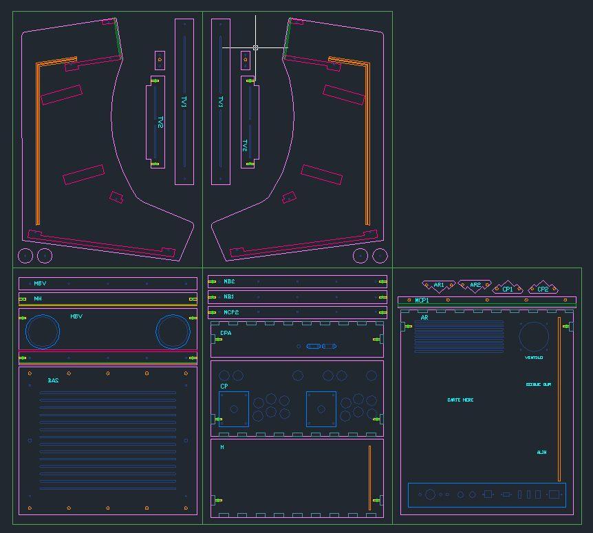 Plan de découpe sous autocad de la borne d'arcade bartop 2 ...