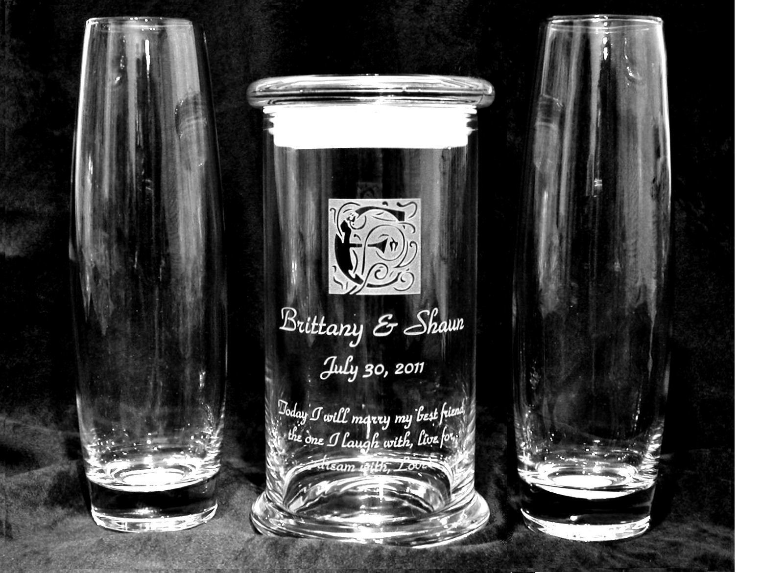 Personalized sand unity set status elite glassmage wedding personalized sand unity set status elite standard clear glass main vase with seal tite glass lid plus two pouring vases with bride groom names reviewsmspy