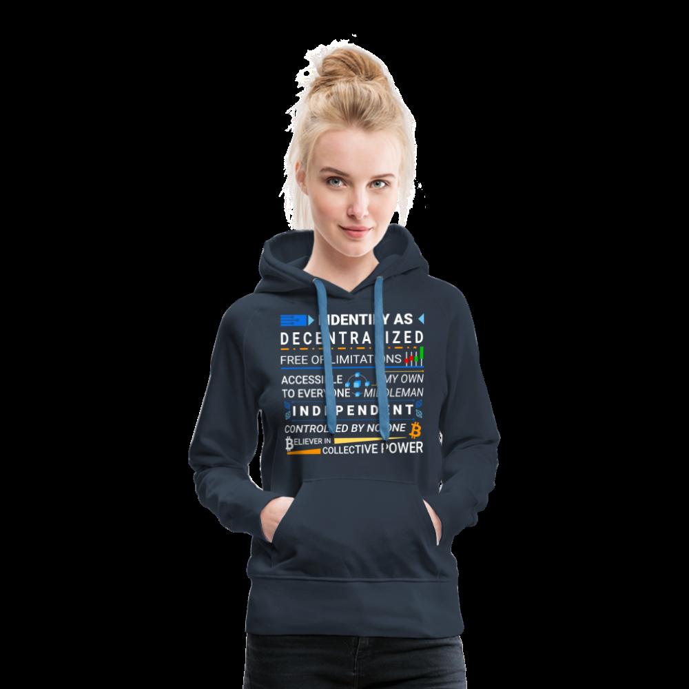 Decentralize Your Life Blockchain Premium Hoodie For Women (Dark) - navy / L