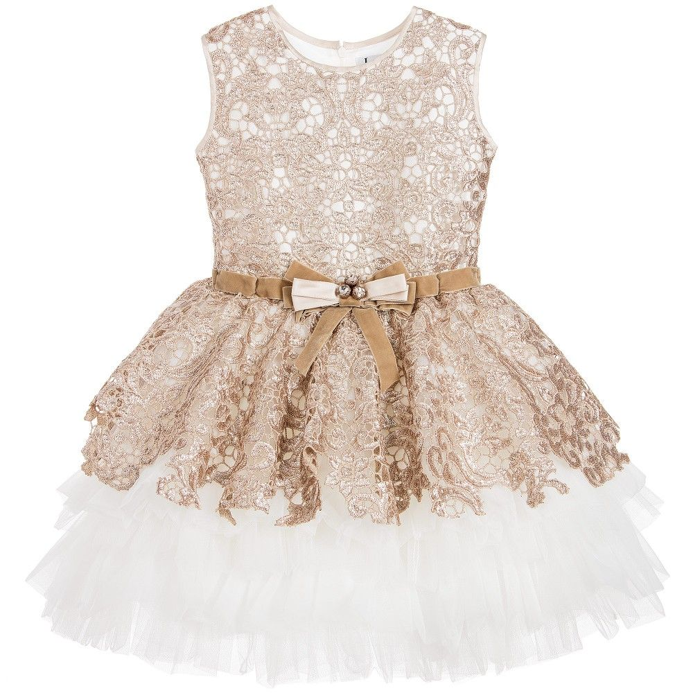 Lesy Luxury Gold Sequin Lace & Ivory Tulle Dress at Childrensalon.com