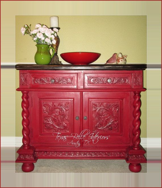 Crimson Red Vintage Vanity Cabinet by TexasBelleInteriors ...