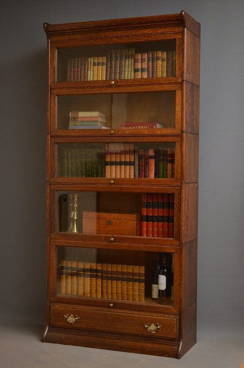 Furniture Oak Barrister Bookcase with Glass Doors 6 Shelves Lift ...
