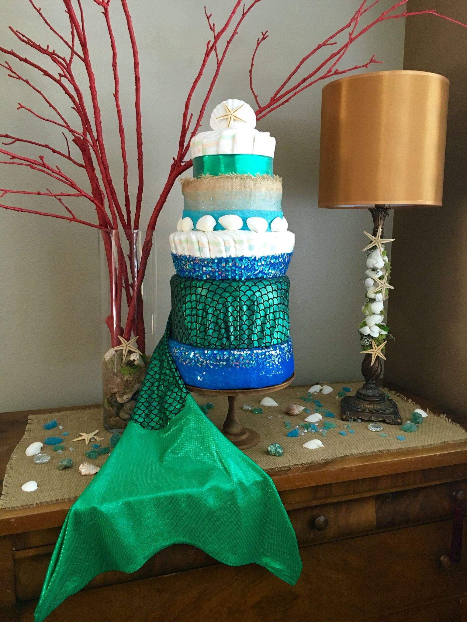 Mermaid lamp - It Was So Much Fun Creating This Glitter Glam Mermaid Tail Diaper Cake For My Daughter S