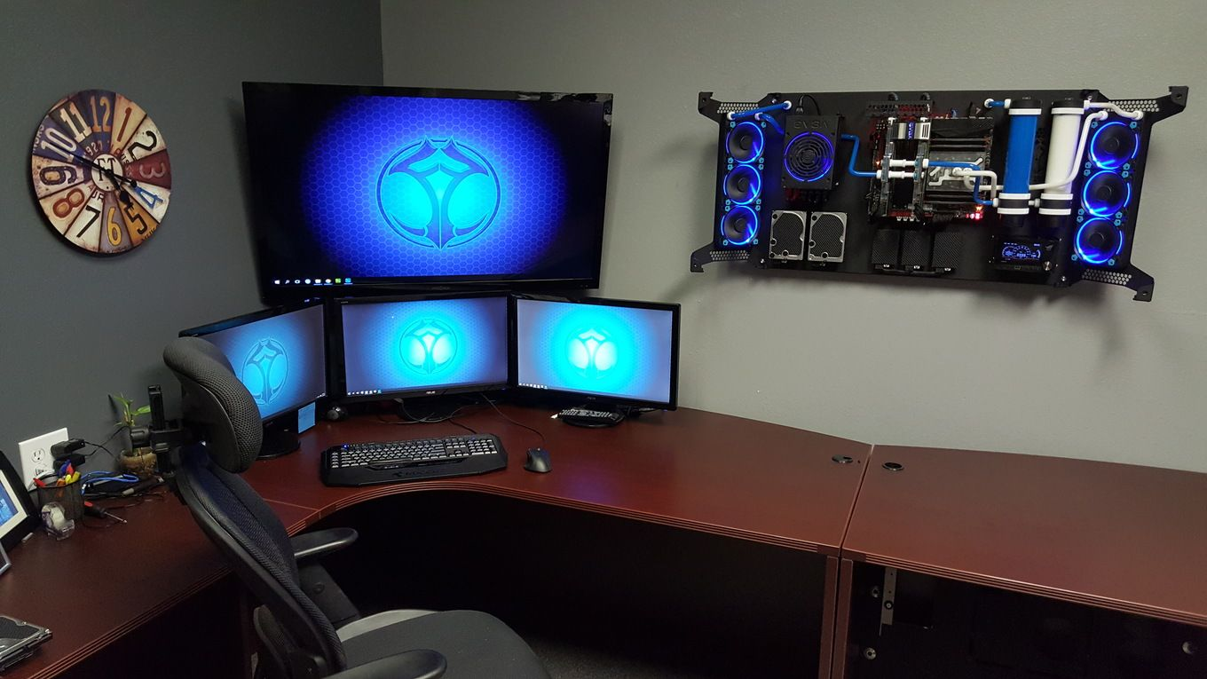 Evolution Of Feros Wall Mounted Pc Case Wall Mounted Pc Computer Setup Computer Gaming Room