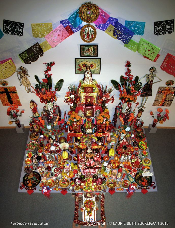 Forbidden Fruit altar installation​,  Grave Matters exhibition 2006,   Laurie Beth Zuckerman, ICONARTE