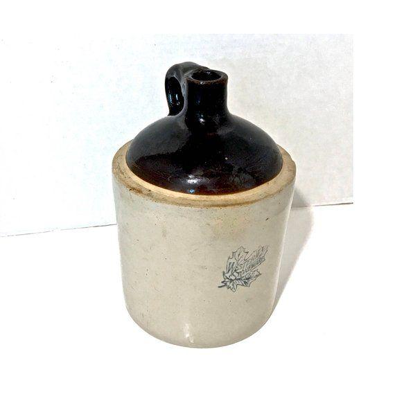 """Vintage Western Stoneware Jug 11"""" Antique Stoneware Jug"""