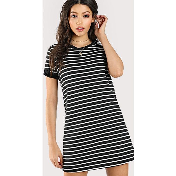 0319e7ad10 SheIn(sheinside) Striped Tee Dress ($11) ❤ liked on Polyvore featuring  dresses, black and white, short sleeve swing dress, striped t-shirt dresses,  ...