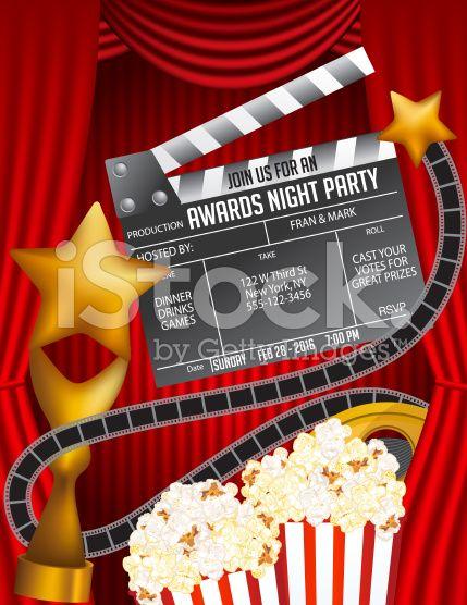 Movie awards night party invitation vertical template with red movie awards night party invitation template royalty free stock vector art stopboris Gallery