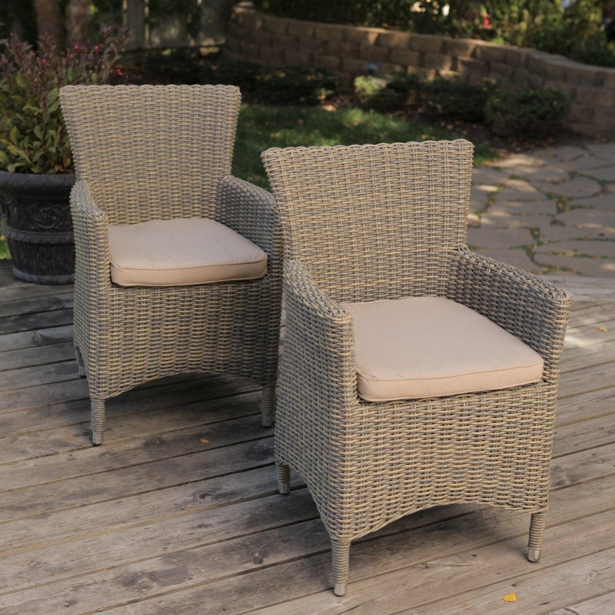 Bella all weather wicker patio dining chair set of 2 for All weather outdoor furniture