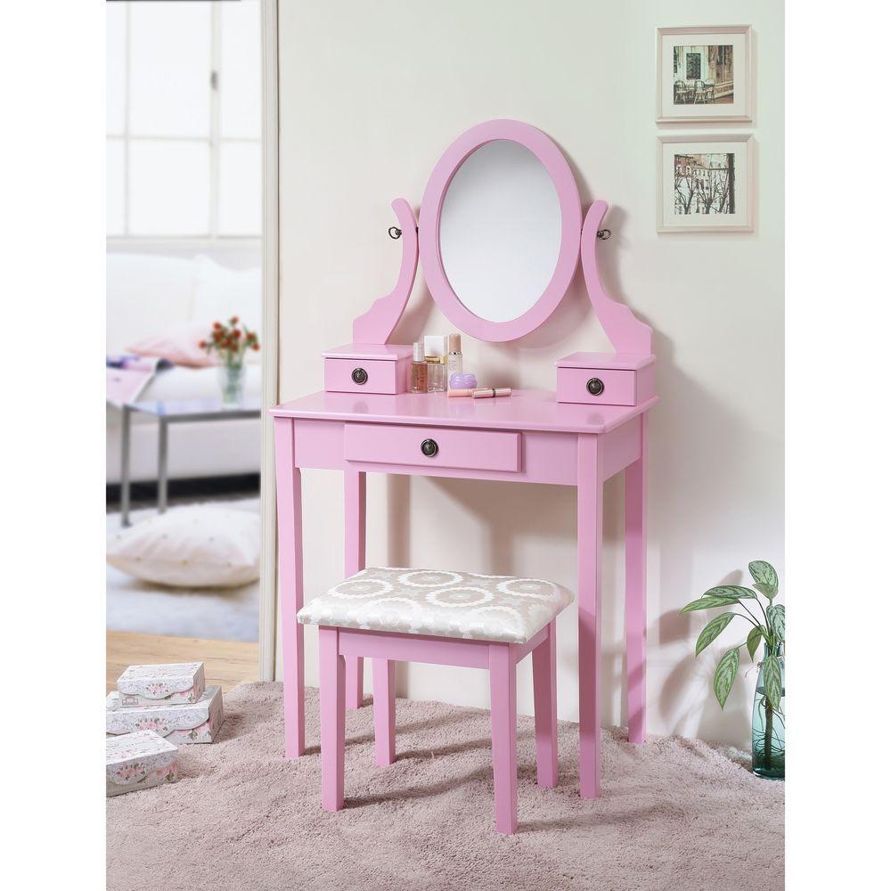 Kidus vanity table and stool set pink oval mirror bedroom furniture