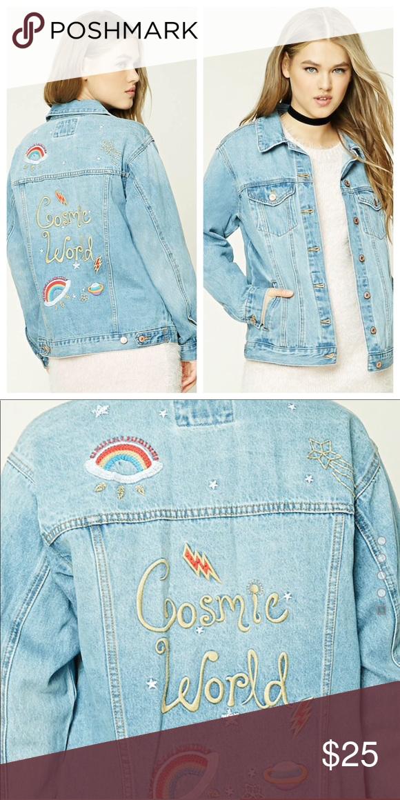 """6107d1f37 Forever 21 """"Cosmic World"""" Embroidered Denim Jacket NWOT - A denim ..."""