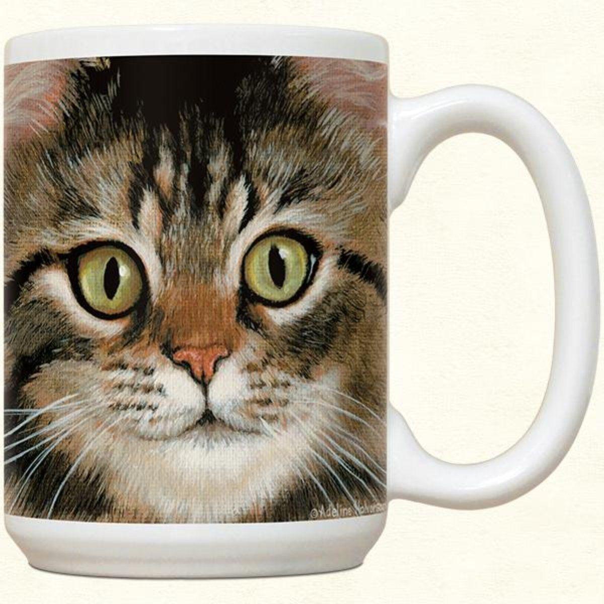 Brown Tabby Cat Ceramic Mug 15 oz Tabby cat, Grey tabby