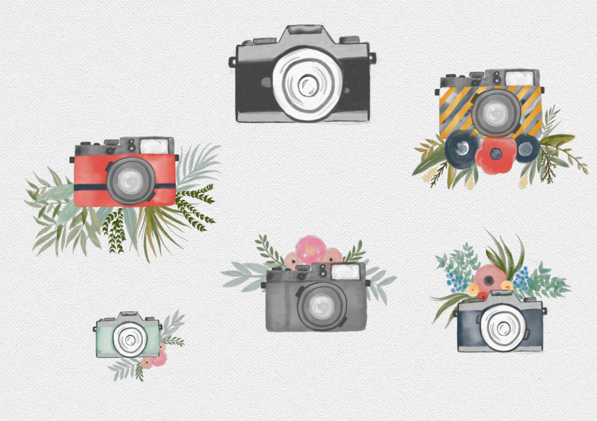 Watercolor camera clipart commercial use watercolor for Camera film logo