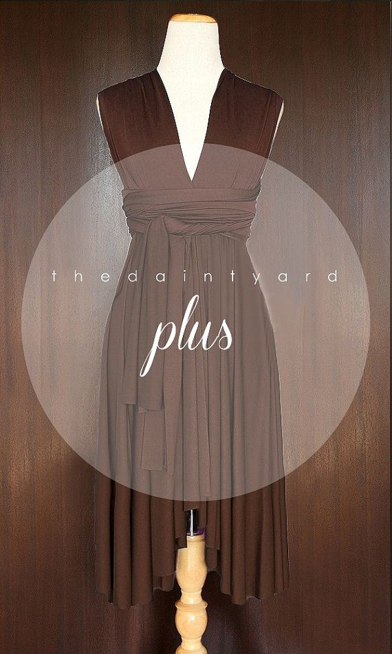 af3f2e64a38 Plus Size Chocolate Bridesmaid Dress Convertible by thedaintyard ...