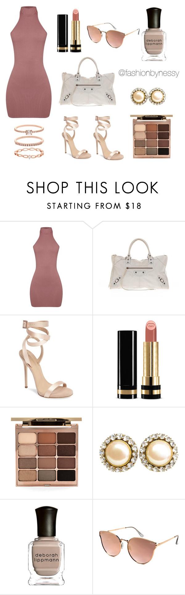 """Pink Mauve Dress Set"" by nessyramirez ❤ liked on Polyvore featuring Balenciaga, Giuseppe Zanotti, Gucci, Stila, Chanel, Deborah Lippmann, Quay and Accessorize"