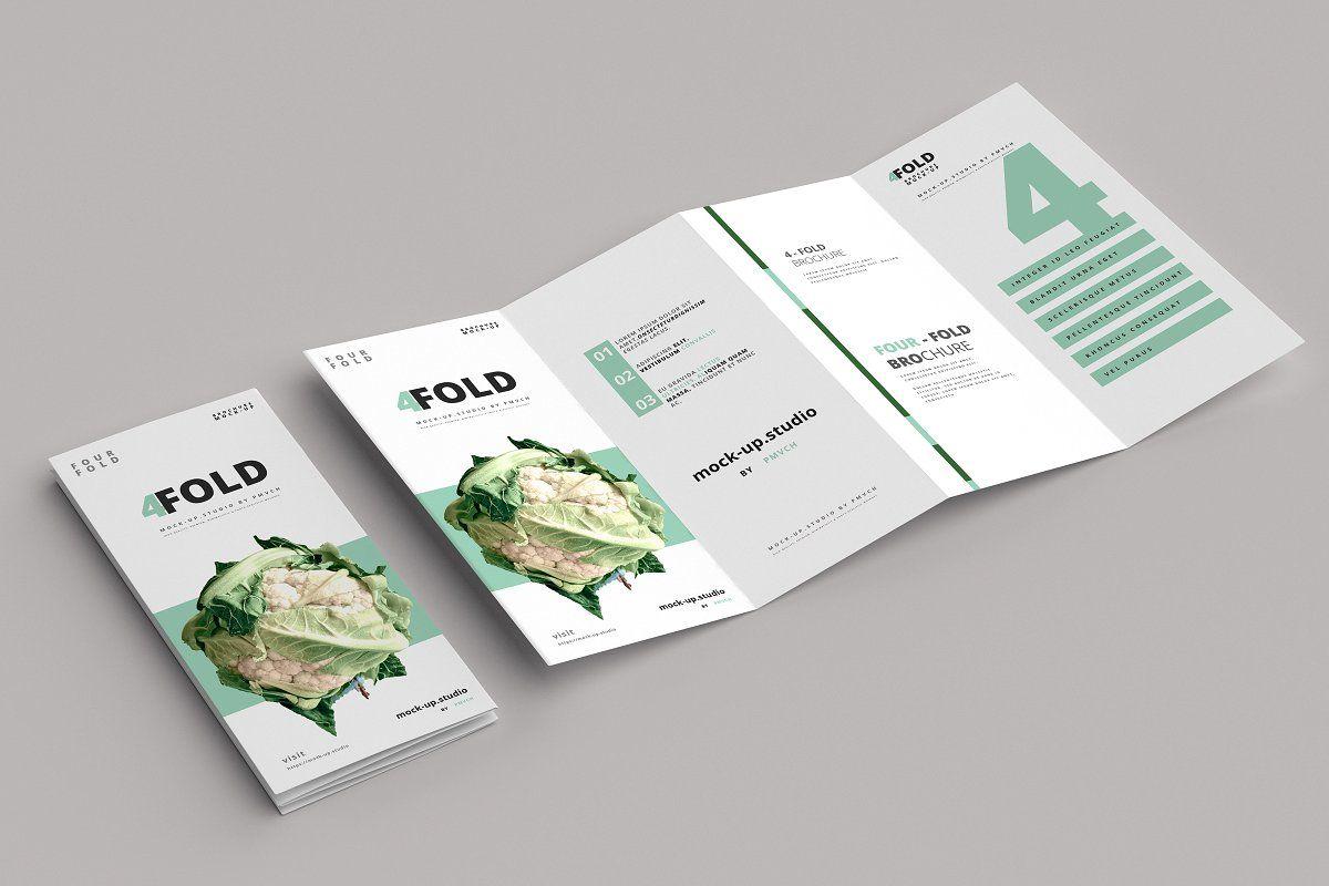 Four Fold 4 Fold Brochure Mockups Brochure Design Template Brochures Mockups Brochure Design