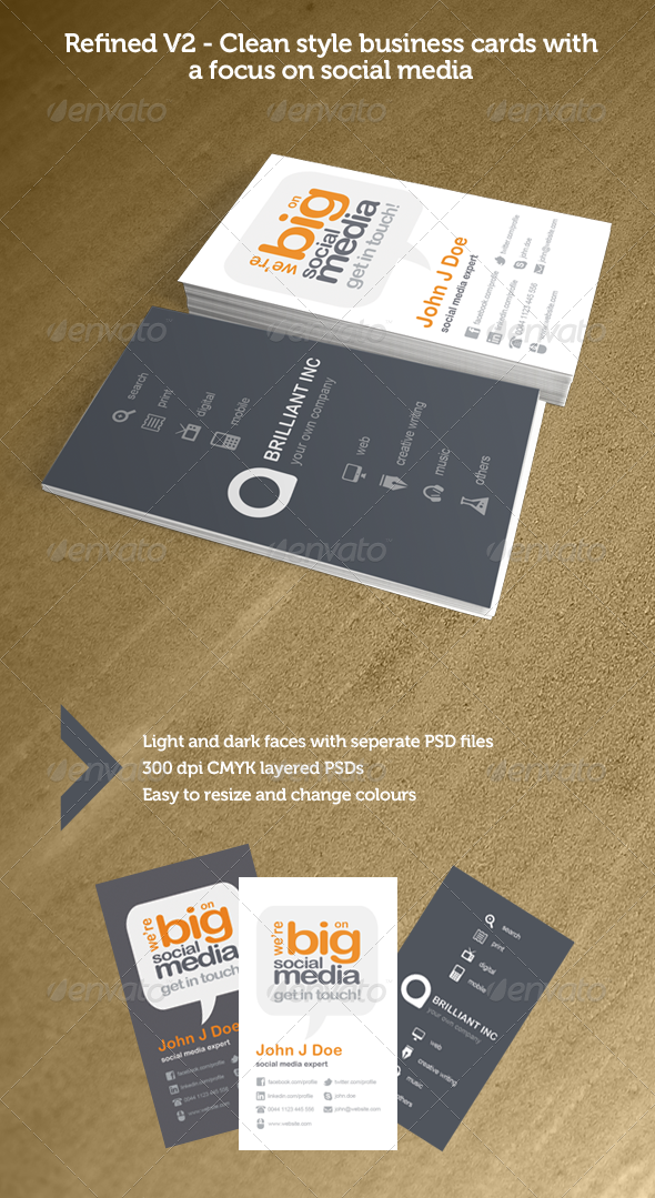 Refined v2 social media business cards business cards print print templates refined v2 social media business cards graphicriver fbccfo