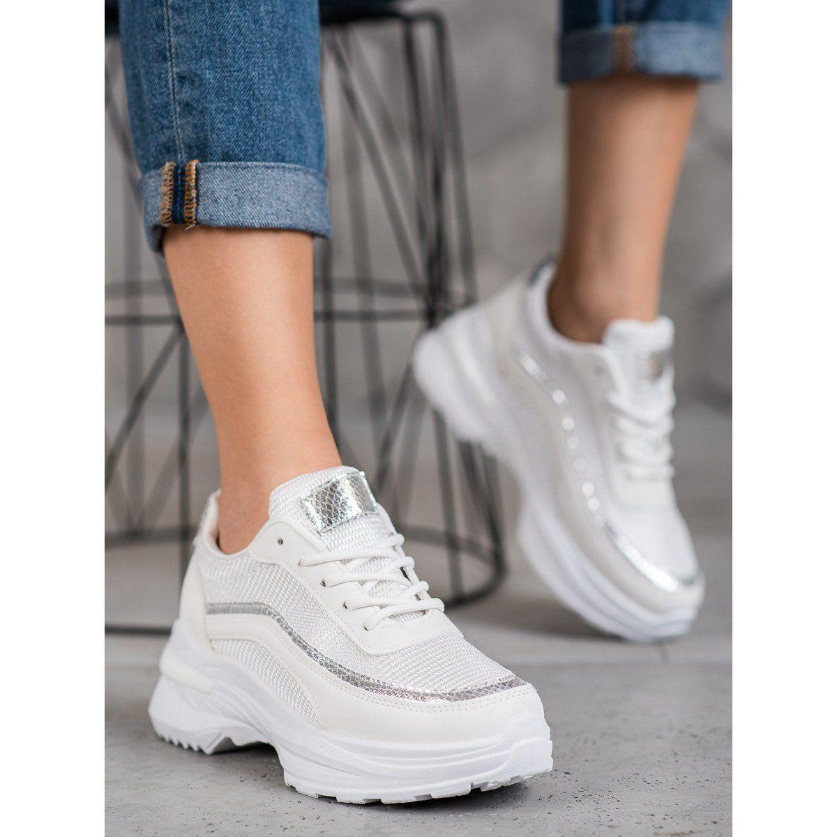 Shelovet Modne Buty Sportowe Biale Zolte Wedding Sneaker Air Max Sneakers Shoes