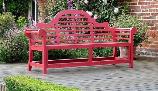 Red Lutyens Bench 180cm Painted Lutyens Teak Bench Red Garden Bench Wooden Garden Benches Teak Garden Bench