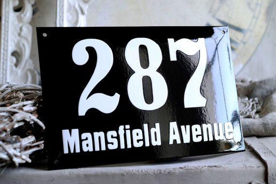 Enamel Address Plaque 7.1 x 11.1 by enamelsign on Etsy