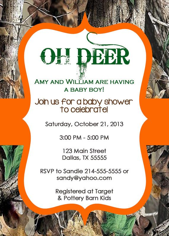 oh deer tree camo baby shower invitation or birthday party invitation