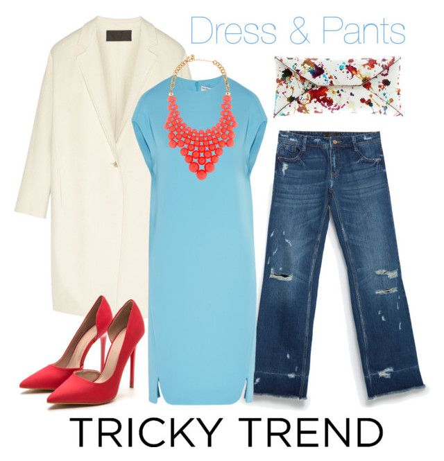 """Tricky Trend: Dress and Pants"" by pampaiy ❤ liked on Polyvore featuring Donna Karan, Zara, Balenciaga, VBH and Kate Spade"